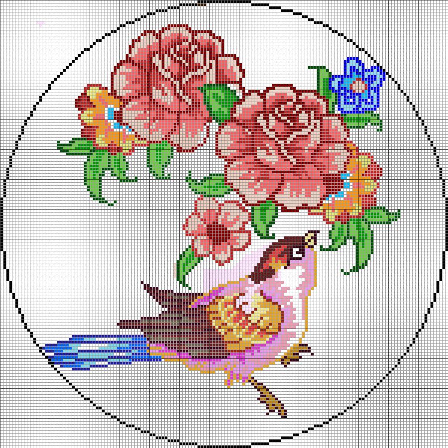 طرح شطرنجی برای بافت گل و پرنده