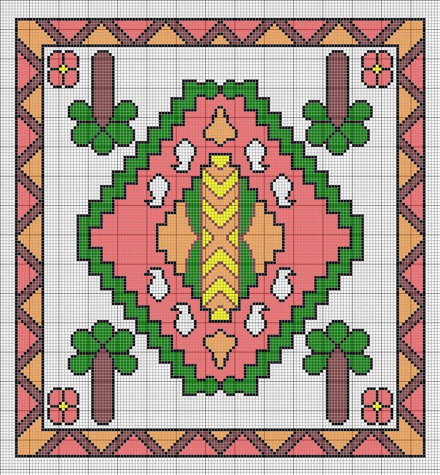 طرح شطرنجی برای بافت قالی زیرانداز