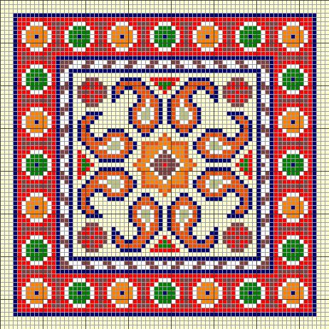 طرح شطرنجی برای بافت قالی زیر انداز
