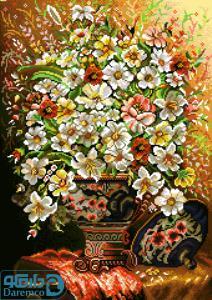 نخ و نقشه بزرگ طرح گل و گلدان