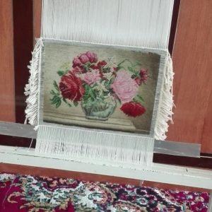 نمونه تابلوفرش بافته شده طرح گلدان شیشه ای