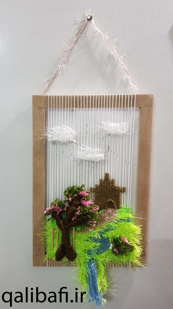 نمونه گلیم تاپستری بافته شده بر روی دار چوبی
