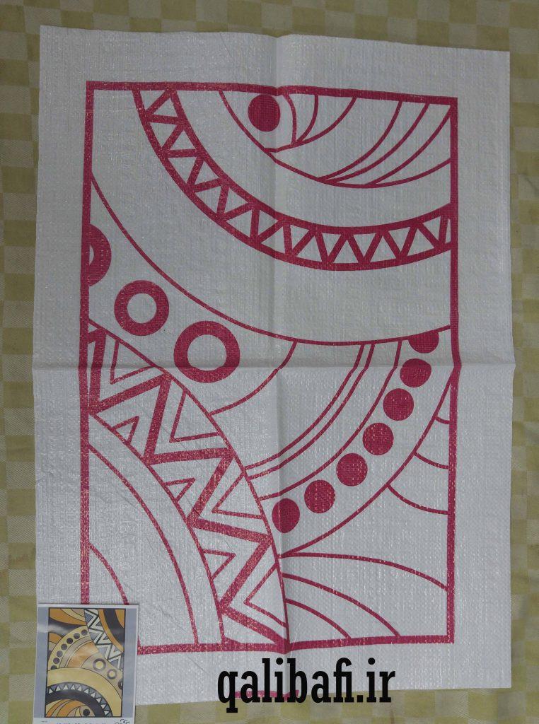 گونی شبه قالی طراحی شده به شکل سنتی